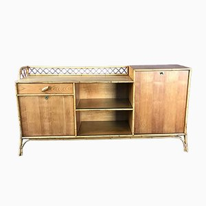 Vintage French Rattan Sideboard, 1960s