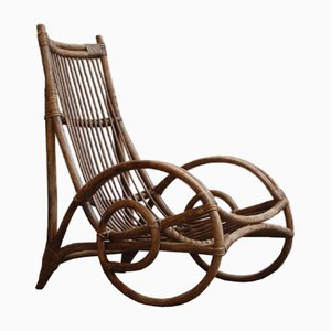 Rocking Chair en Osier, 1950s