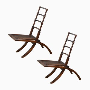 Klappbare antike Beistellstühle aus Nussholz, 1870er, 2er Set