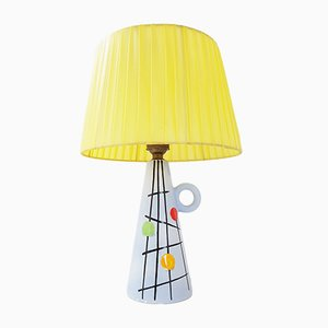Ceramic & Nylon Raffia Table Lamp, 1950s