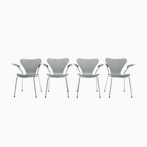 Modell 7 Beistellstühle von Arne Jacobsen für Fritz Hansen, 1980er, 4er Set