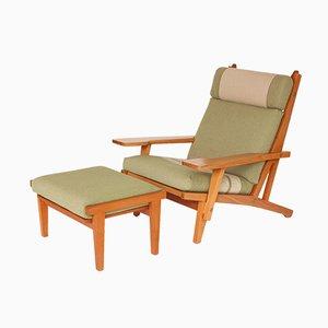 Juego de sillón y otomana GE 375 de Hans J. Wegner para Getama, años 70