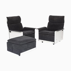 Mid-Century Model RZ 620 Lounge Chairs and Ottoman by Dieter Rams for Vitsœ, 1970s