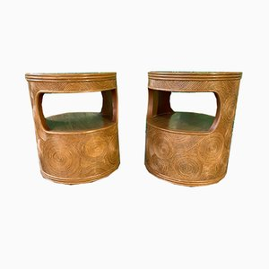 Vintage Split Reed Side Tables, 1980s, Set of 2
