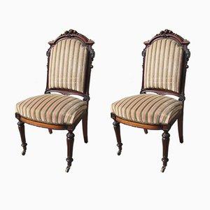Antike Napoleon III Beistellstühle aus Mahagoni, 1890er, 2er Set