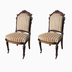 Antique Mahogany Napoleon III Side Chairs, 1890s, Set of 2