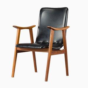 Niederländischer Stuhl aus schwarzem Leder von Louis van Teeffelen für WeBe, 1960er