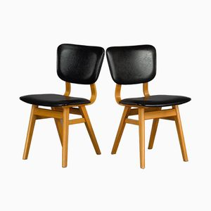 Dutch Plywood and Leatherette Chairs, 1970s, Set of 2