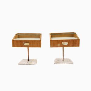 Mid-Century Nightstands with Marble Bases, 1950s, Set of 2
