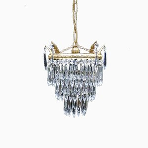 Art Deco Italian Crystal Glass Three-Tier Chandelier, 1930s