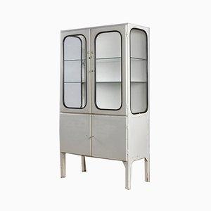 Mobiletto per medicinali vintage in ferro e vetro, anni '70