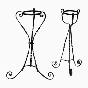 Antique Black Wrought Iron Plant Stands, Set of 2
