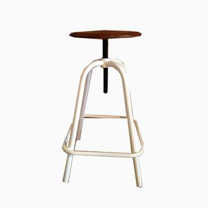 Metal & Wood Architect's Stool with Swivel Seat, 1970s