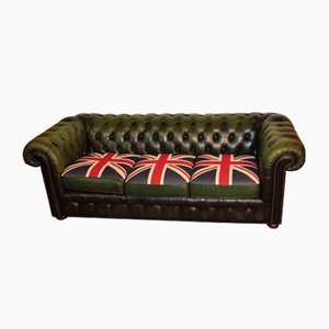 Green Leather 3-Seater Chesterfield Sofa with Union Flag Cushions, 1960s