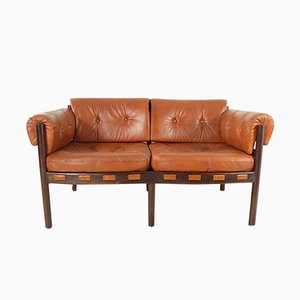 Rosewood & Leather Sofa by Arne Norell for Coja, 1960s