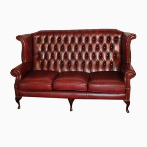 Red Leather High Back Buttoned 3-Seater Chesterfield Sofa, 1960s