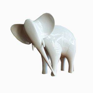 Vintage Porcelain Elephant Statue by Jaroslav Ježek for Royal Dux