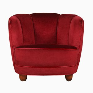 Art Deco Danish Red Velour Armchair, 1930s