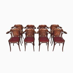 Curved Solid Wood & Skai Armchairs from Scheepers, 1960s, Set of 8
