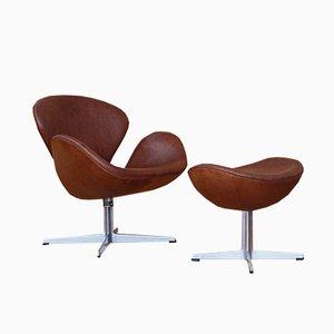 Chaise Cygne en Cuir & Ottomane par Arne Jacobsen pour Fritz Hansen, 1969