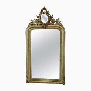 Specchio da parete antico in legno intagliato e dorato, metà XIX secolo