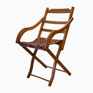 Antique British Carpet Upholstered Deckchair for Oetzmann & Co.