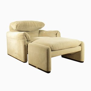 Maralunga Lounge Chair & Ottoman by Vico Magistretti for Cassina, 1970s