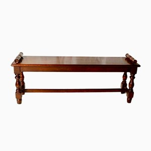 Victorian Walnut Scroll End Bench, 1860