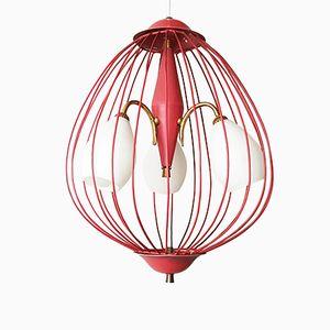 Lampe à Suspension Cage d'Oiseau Mid-Century en Acier, Italie, 1950s