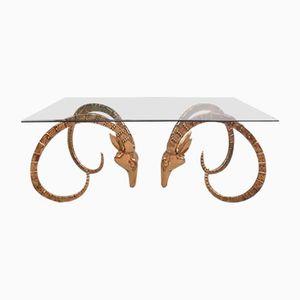 Table Basse Mid-Century Rams Head en Laiton