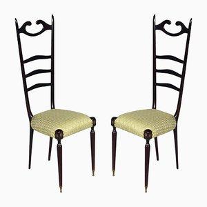 Italienische Mid-Century Chiavari Stühle aus Mahagoni, 1950er, 2er Set