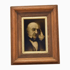 Antique British Ceramic Tile of William Gladstone by George Cartlidge for Sherwin & Cotton, 1898