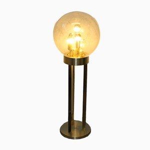 Stehlampe mit Fuß aus Messing & kugelförmigem Glasschirm von Doria Leuchten, 1970er