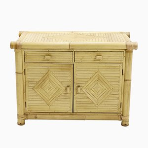 Mid-Century Rattan & Bamboo Cabinet, 1970s