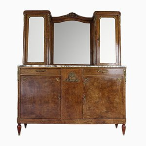 Antique French Burr Walnut & Marble Vitrine Cabinet