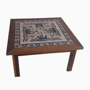 Antique Handainted Ceramic Coffee Table from Paterna Maiolica d'Art