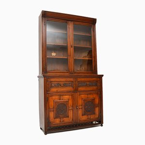 Antique Arts and Crafts Walnut Secretaire Bookcase
