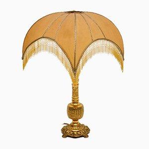 Antike Messinglampe mit dekorativem Schirm
