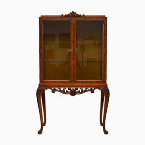 Vintage Burr Walnut Display Cabinet