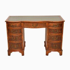 Vintage Burr Walnut Leather Top Pedestal Desk