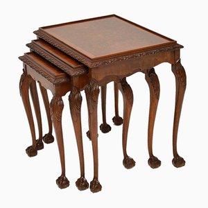 Mesas nido vintage de madera nudosa de nogal