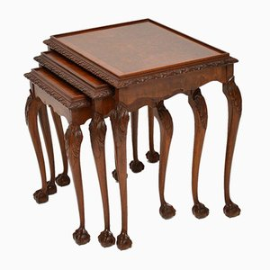 Tavolini ad incastro vintage in radica di noce