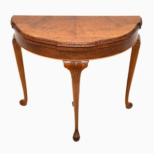 Vintage Burr Walnut Queen Anne Style Card Table