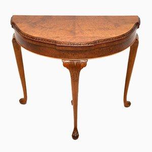 Vintage Kartentisch aus Nussholz im Queen Anne Stil