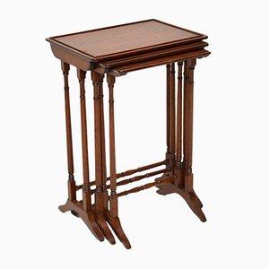 Tavolini a incastro edoardiani in mogano