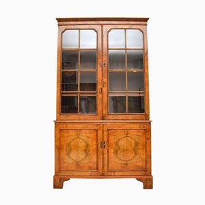 Antique Figured Walnut Two Section Bookcase