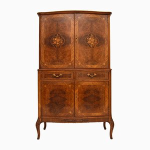 Vintage French Burr Walnut & Marquetry Cocktail Cabinet