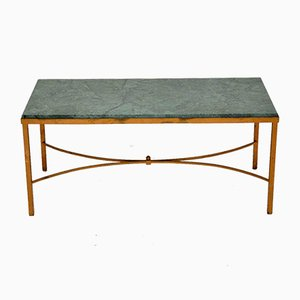 Vintage French Marble and Brass Coffee Table
