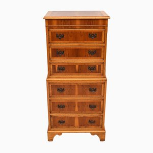 Vintage Georgian Style Yew Wood Chest on Chest