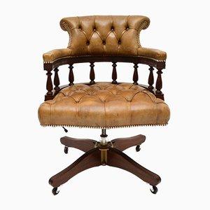 Chaise de Bureau Pivotante Vintage en Cuir et en Acajou